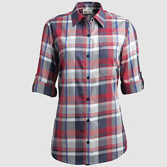 Dickies Women's Quarter Sleeve Plaid Shirt-Red