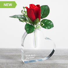 Personalized Rose Heart Vase