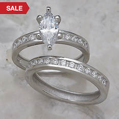 Marquise Channel Wedding Set-Silver