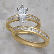 Marquise Channel Wedding Set-Gold