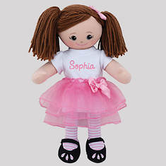 Personalized Brunette Ballerina Doll