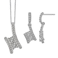 Sterling Silver .10 ct. tw. Pendant and Earrings