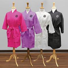 Monogrammed Kimono Robe-Black with White Monogram