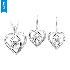 Sterling Silver .02 ct. tw. Heart Pendant and Earring Set