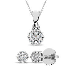 Sterling Silver .25 ct. tw. Pendant and Earring Set