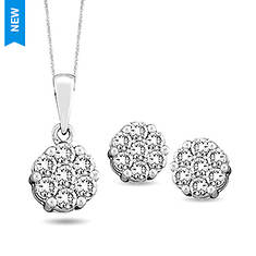 Sterling Silver .17 ct. tw. Pendant and Earring Set