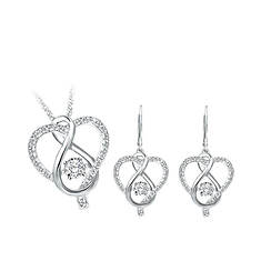 Sterling Silver .02 ct. tw. Earring and Heart Pendant Set