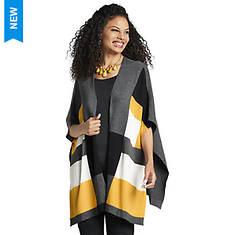 Colorblock Striped Cape Sweater