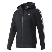 adidas Men's Essentials 3S Full-Zip Brushed Fleece Hoodie