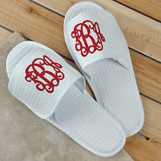 White Slippers with Blue Monogram