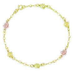 10K Tri-Color Black Hills Gold Roses Bracelet