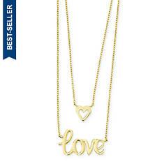 14K Gold 2-Strand Love & Heart Necklace