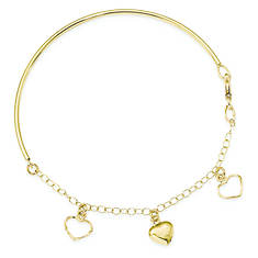 14K Polished Dangle Heart Chain Bangle