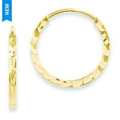 14K Diamond-Cut Square Tube Endless Hoop Earrings