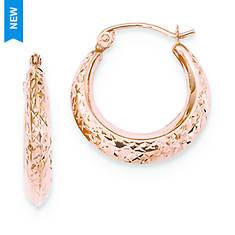 14K Rose Gold Textured Hollow Hoop Earrings