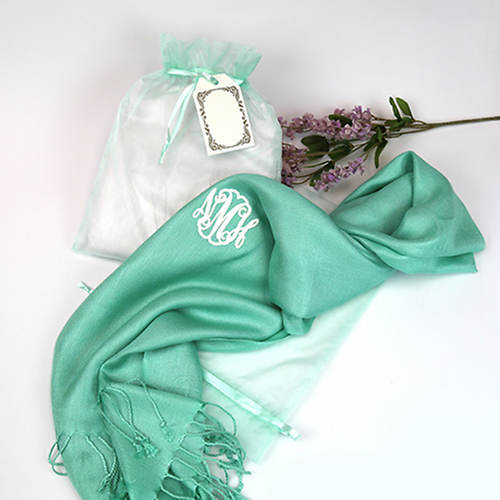 Monogrammed Scarf with Organza Gift Bag