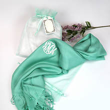 Monogrammed Scarf with Organza Gift Bag-Green with White Monogram