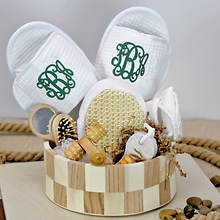 Deluxe Spa Basket with Green Monogram Slippers