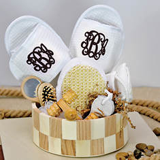 Deluxe Spa Basket with Black Monogram Slippers