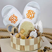 Deluxe Spa Basket with Orange Monogram Slippers