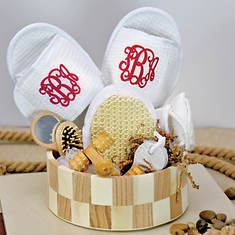Deluxe Spa Basket with Red Monogram Slippers