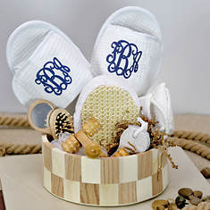 Deluxe Spa Basket with Blue Monogram Slippers