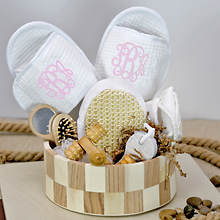 Deluxe Spa Basket with Pink Monogram Slippers