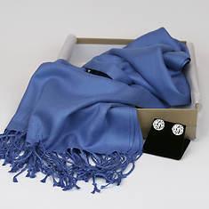 Monogrammed Earrings & Pashmina Silk Scarf-Blue