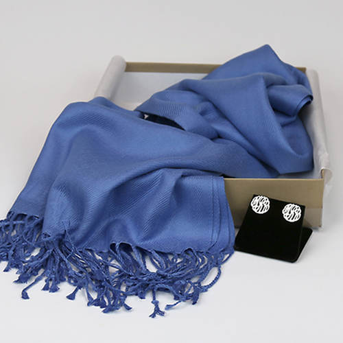 Monogrammed Earrings & Pashmina Silk Scarf