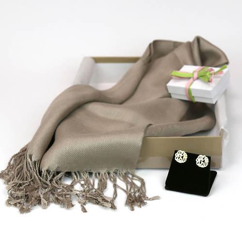 Monogrammed Earrings & Pashmina Silk Scarf