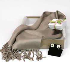 Monogrammed Earrings & Pashmina Silk Scarf-Brown
