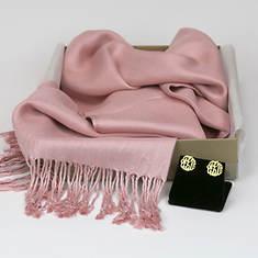Monogrammed Earrings & Pashmina Silk Scarf-Blush