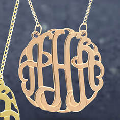 I'm So Lucky Monogram Necklace-Rose Gold