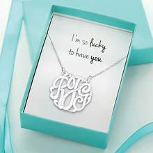 I'm So Lucky Monogram Necklace-Silver