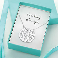 I'm So Lucky Monogram Necklace-Silver