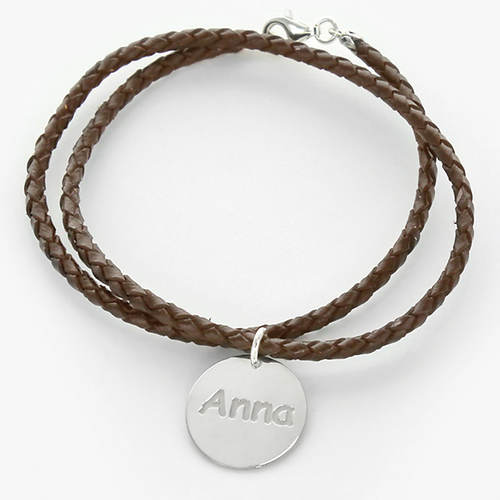 Personalized Braided Wrap Charm Bracelet