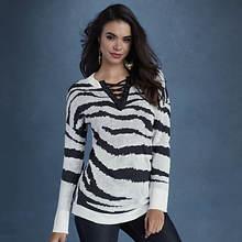 Zebra Lace-Up Sweater