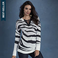 Zebra Lace-Up Sweater