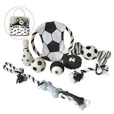 Pet Life 8-Piece Soccer-Themed Pet Toy Set