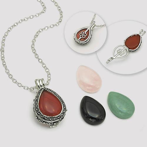 4-Pc. Genuine Stone Set with Swarovski® Crystal Pendant