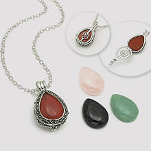 4-Pc. Genuine Stone Set with Swarovski® Crystal Pendant