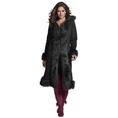 Fur-Trimmed Faux Suede Coat