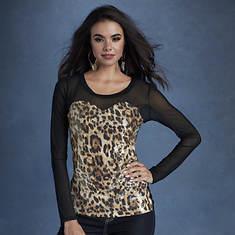 Sequin Mesh Leopard Top