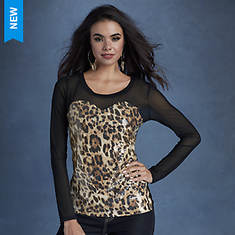 Sequin Mesh Leopard Top