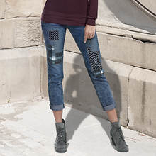 Plaid Patch Boyfriend Jeans