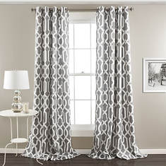 Lush Decor - Edward Trellis Room Darkening Window Curtain Set