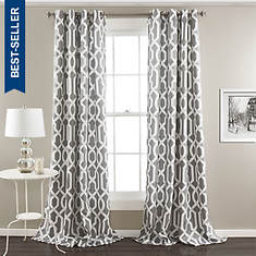 Lush Decor - Edward Trellis Room Darkening Window Curtain Set