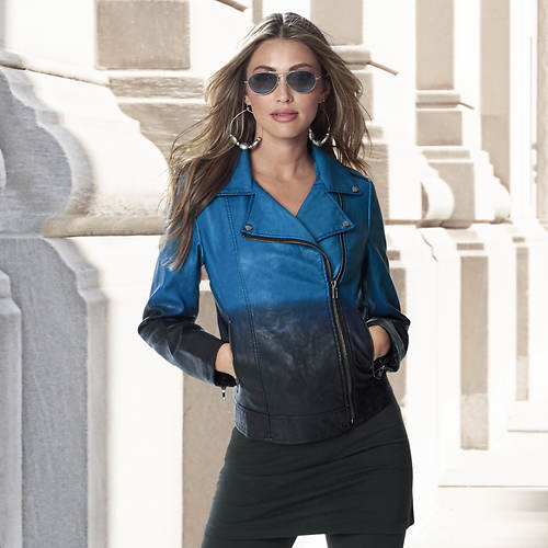 Ombre Faux Leather Moto Jacket