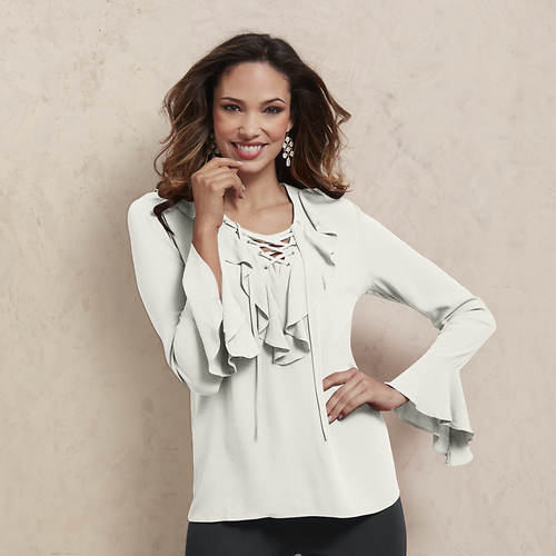 Ruffle Lace-Up Blouse