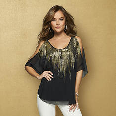 Metallic Flutter Sleeve Top